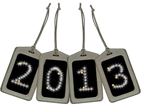 Leather Luggage Tags with 2013 isolated  photo