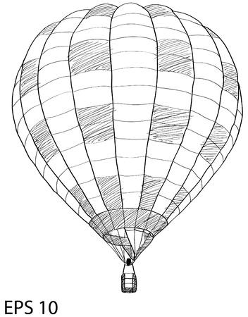 Hot Air Balloon Sketch Up lijn Stock Illustratie