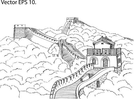 Chinese Wall Sketch Up Illustration