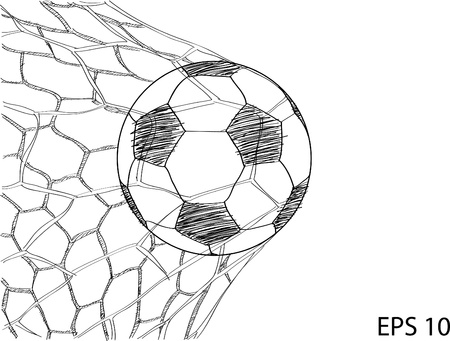 Soccer Football in Goal Net Sketched Up Vector