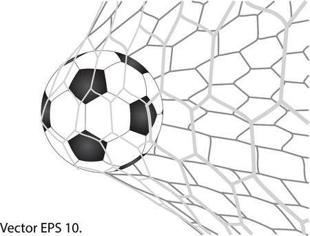 Soccer Football in Goal Net  Vector