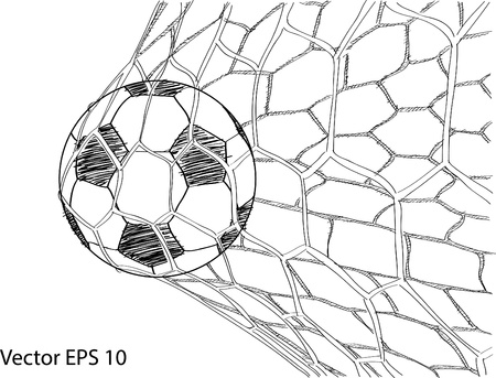 Soccer Football in Goal Net Sketched Up