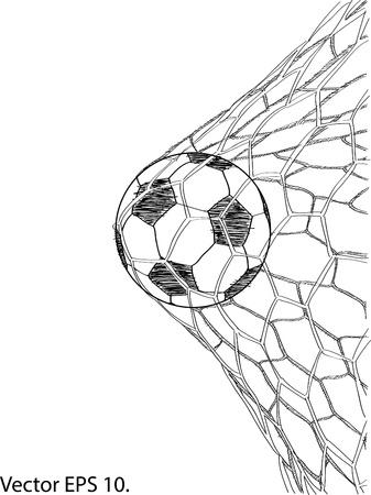 Voetbal van het Voetbal in Doel Netto Geschetst omhoog