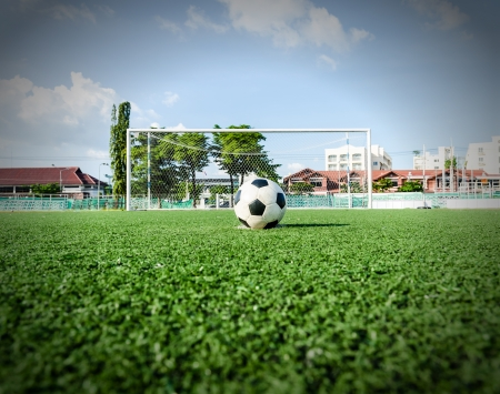 Soccer Football on Penalty spot for Penalty Kick  photo