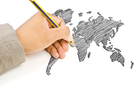 Hand Drawing World Map Globe line on the whiteboard  photo