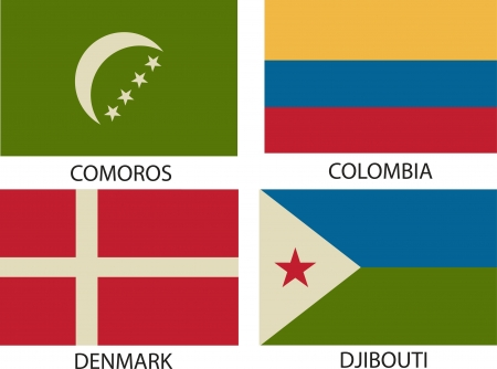 National Flags Symbol Illustrator, Vintage Style. Vector
