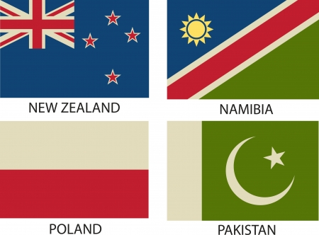 National Flags Symbol Illustrator,   Vintage Style  Vector