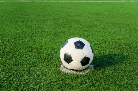 Soccer Football on Penalty spot for Penalty Kick. Stock Photo - 18655479