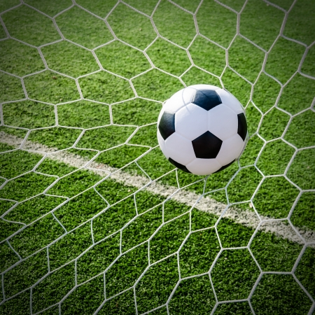 Soccer football in Goal net with green grass field Stock Photo - 18976248