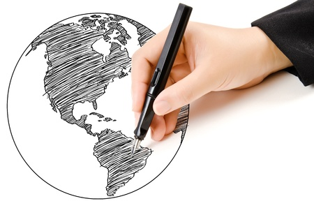 Hand Drawing World Map Globe line on the whiteboard. Stock Photo - 20151174
