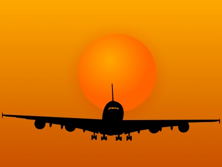 Airplane with Sunset Vector Illustration  Vector