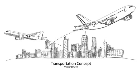 airplane world: Concept of Airplane, Air Craft Shipping Around the World for Transportation Concept Sketched Up outline, Vector Illustration Illustration
