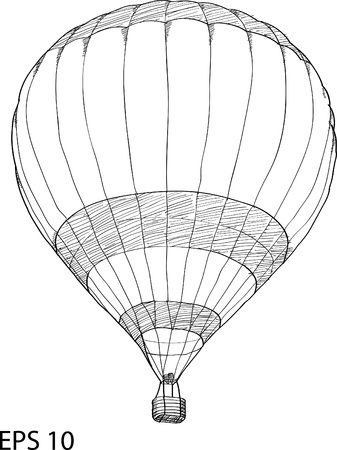 Hot Air Balloon Vector Sketch Up line Vector