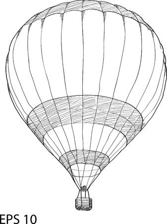 air vehicle: Hot Air Balloon Vector Sketch Up line