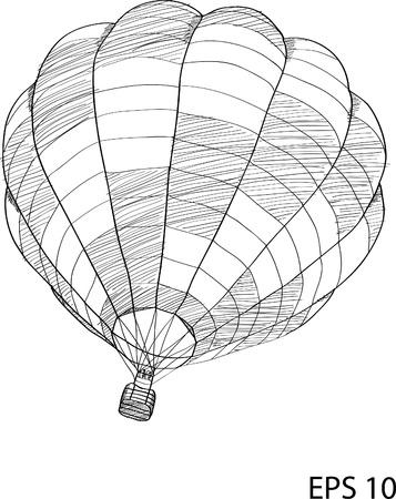 Hot Air Balloon Vector Sketch Up line Vector