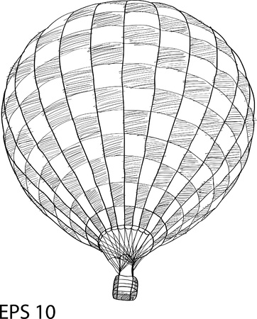 balon: Hot Air Balloon Vector Sketch Up line