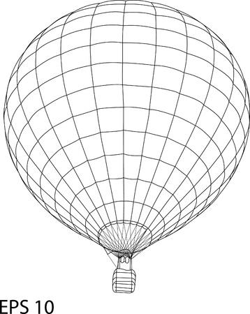 balon: Hot Air Balloon Vector Sketch Up line, EPS 10.