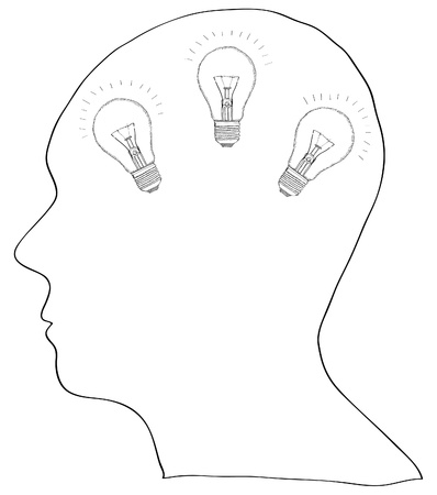 Human Brain with Light Bulb for Think Idea Concept Vector Outline Sketched Up, Vector Illustration  Vector