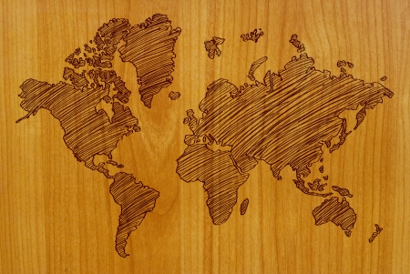 World Map Drawing on the wall  photo