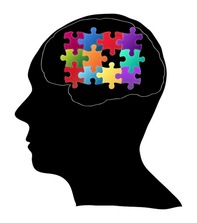 Human Brain with Jigsaw Puzzle for Think Idea Concept Vector Outline Sketched Up, Vector Illustration