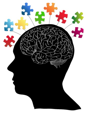 Human Brain with Jigsaw Puzzle for Think Idea Concept Vector Outline Sketched Up, Vector Illustration  Vector
