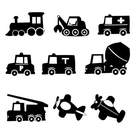 air traffic: Transporte set de iconos, ilustraci�n vectorial Vectores