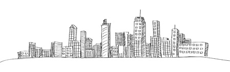 panoramic business: Cityscape Vector Illustration Line Sketched Up