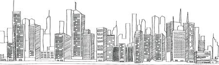 都市の景観ベクトル イラスト線をスケッチしました。