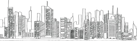 building sketch: Cityscape Vector Illustration Line Sketched Up