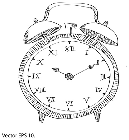 Drawing Clock Vector Line Sketched Up Illustrator Vector