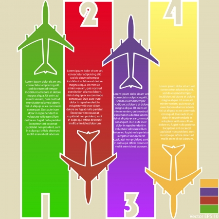 transport: Infographic van Kleurrijke Vliegtuigen met Kleurrijke Achtergrond, Vector Illustraton