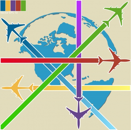 Concept of Airplane, Air Craft Shipping Around the World for Transportation Concept, Vector Illustration  Vector