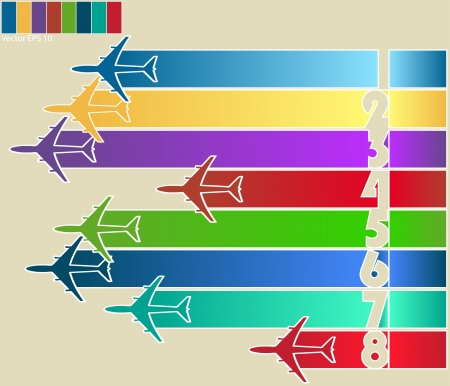 illustraton: Infographic of Colorful Airplanes with Colorful Background, Vector Illustraton