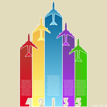 illustraton: Colorful Airplanes with Colorful Background, Vector Illustraton  Illustration