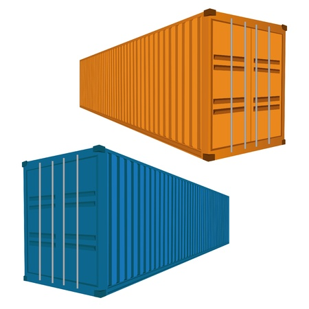 dockyard: Freight Container, Vector Illustration