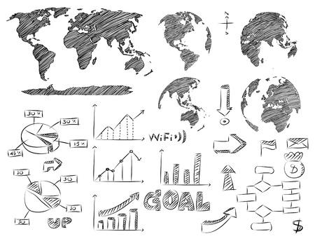 Detail Infographic Vector Illustration Sketched  World Map and Information Graphics  Illustration