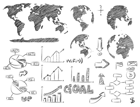 Detail Infographic Vector Illustration Sketched  World Map and Information Graphics  Иллюстрация