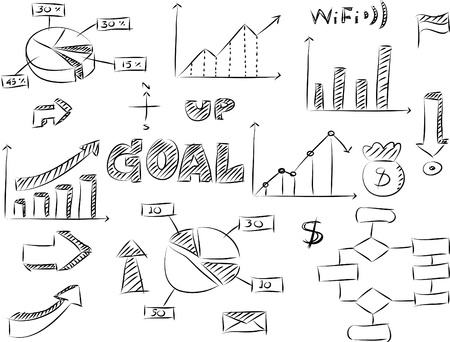 Set of Doodles Graphic and Finance Diagram Vector Sketched Illustration