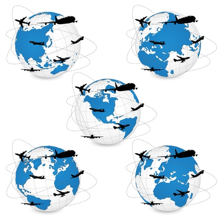 Concept of Airplane, Air Craft Shipping Around the World for Transportation Concept, Vector Illustration Stock Vector - 21200520