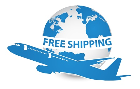 Airplane, Air Craft Shipping Around the World for Free Shipping Concept, Vector Illustration  Vector