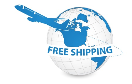 around: Airplane, Air Craft Shipping Around the World for Free Shipping Concept, Vector Illustration