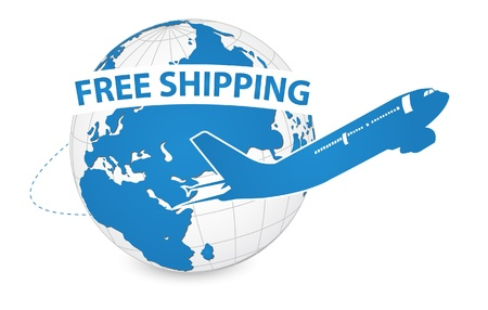 Airplane, Air Craft Shipping Around the World for Free Shipping Concept, Vector Illustration EPS 10  Vector