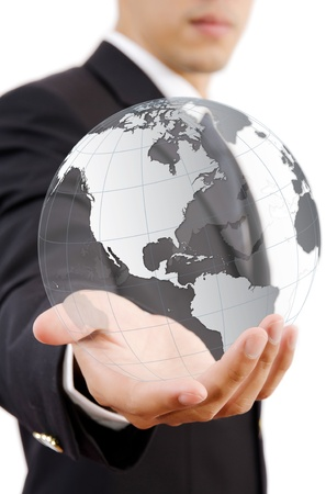 Businessman Holding World Map Globe for Business and Technology concept  photo