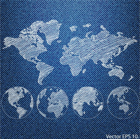 Vector of World Map Globe on the Blue Denim Texture Background Vector