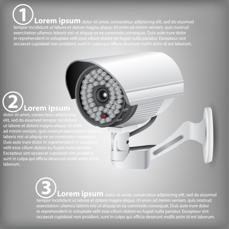 alerts: Infographic Diagram of CCTV Security Camera, Vector Illustration EPS 10, For Business and Technology Concept  Illustration