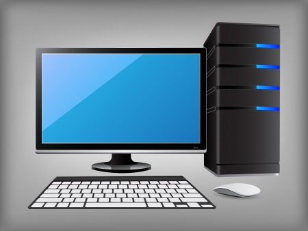 Personal Desktop Computer PC, Vector Illustration  Vector