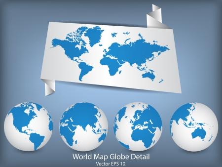 World Map en Globe Detail Vector Illustration