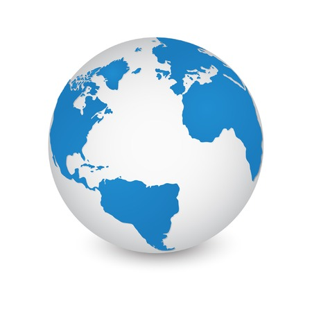 blue sphere: World Map and Globe Detail Vector Illustration Illustration