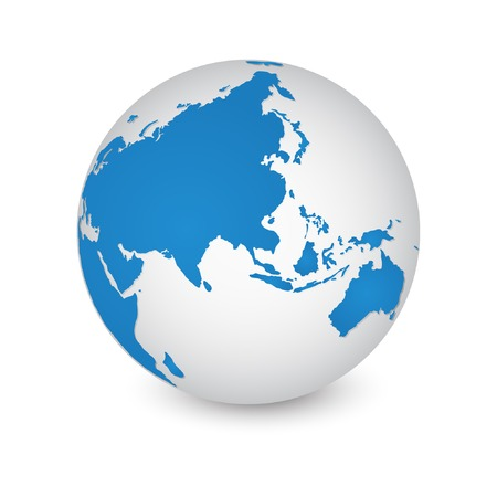 asia map: World Map and Globe Detail Vector Illustration Illustration