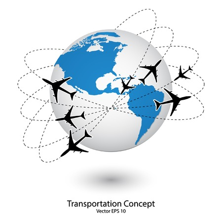 around: Concept of Airplane, Air Craft Shipping Around the World for Transportation Concept, Vector Illustration  Illustration